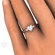 Heart Solitaire Engagement Ring on Finger Rare Earth Jewelry
