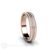 Stacking Diamond Anniversary Band or Wedding Ring 18K Rose Gold 2 Row Design