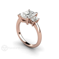 18K Rose Gold Diamond Alternative Engagement Ring Emerald Cut Moissanite