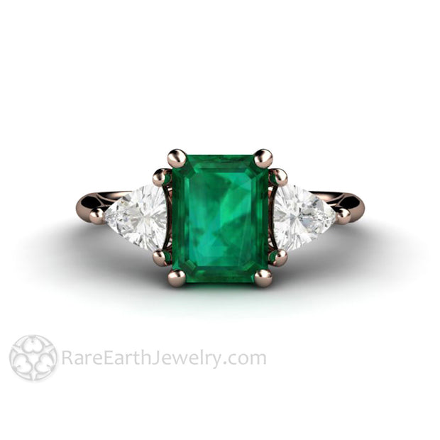 Custom Made Rose Gold Green Emerald Engagement Ring by Rare Earth Jewelry
