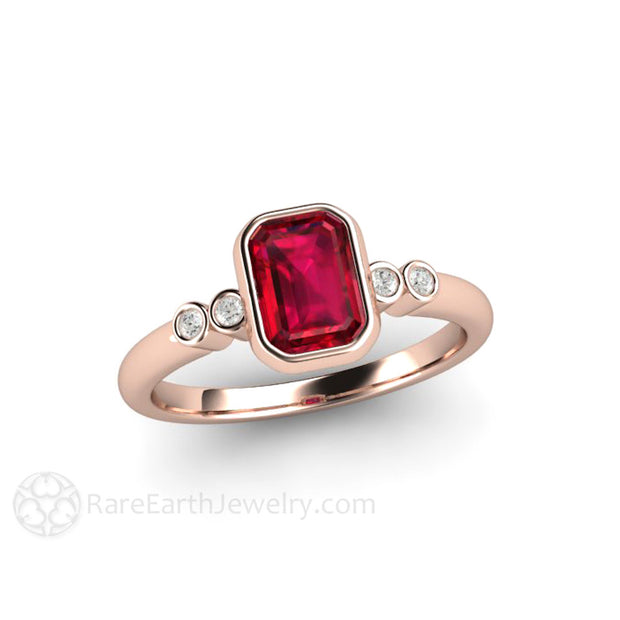 Ruby Mothers Ring with Diamond Accents Bezel Rose Gold Setting Rare Earth Jewelry