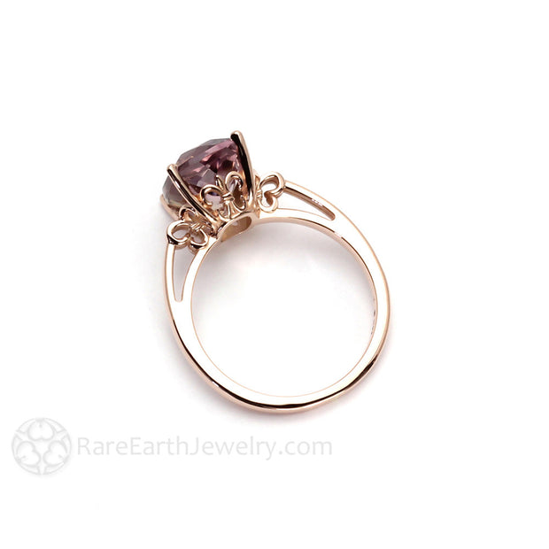 Fleur de Lis Ring 14K Rose Gold Cushion Ametrine Rare Earth Jewelry