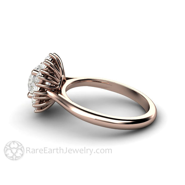 Rare Earth Jewelry Round Forever One Moissanite Ring with Moissanite Halo Rose Gold Setting