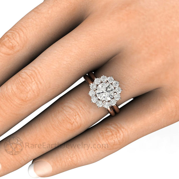 Rare Earth Jewelry Rose Gold Moissanite Wedding Ring Set on Finger 1.25ct Colorless Forever One