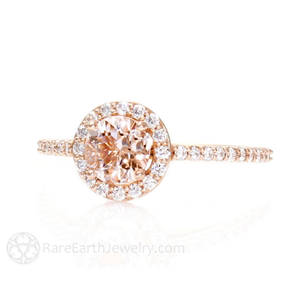 Morganite Bridal Ring Round Cut Natural Gemstone Diamond Halo Rare Earth Jewelry