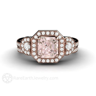 Rare Earth Jewelry Rose Gold Morganite Wedding Set Diamond Halo 3 Stone