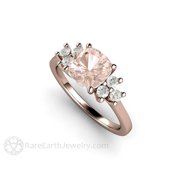 Rare Earth Jewelry 18K Rose Gold 7mm Cushion Morganite Ring with Diamond Accents