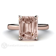 Rare Earth Jewelry Emerald Cut Morganite Solitaire Wedding Ring 14K Rose Gold Setting