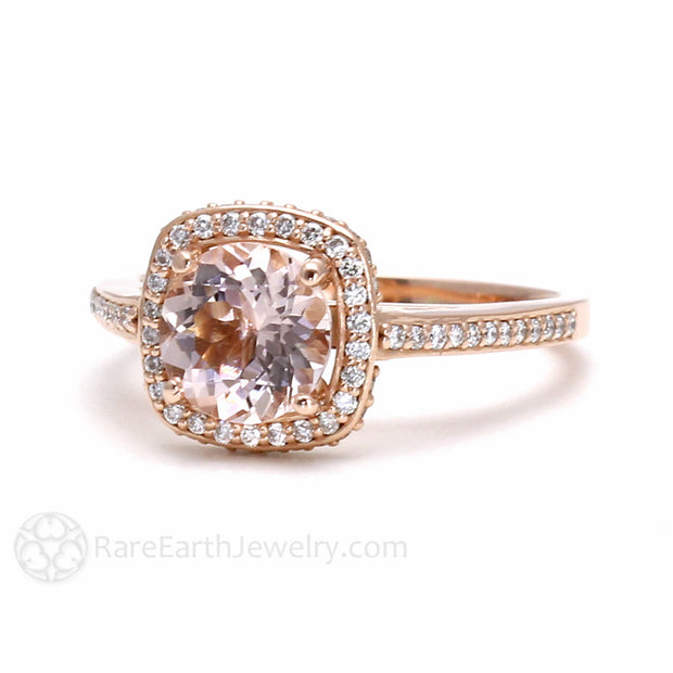 Rare Earth Jewelry Rose Gold Morganite Wedding Ring Pave Diamond Accents 14K 18K Gold or Platinum 2ct Engagement