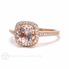 Rose Gold Morganite Wedding Ring with Diamond Accent Stones 14K or 18K Gold Rare Earth Jewelry