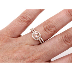 Rose Gold Morganite Wedding Ring Set on Finger Diamond Halo Rare Earth Jewelry
