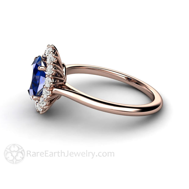 Rare Earth Jewelry Oval Royal Blue Sapphire Ring with Diamond Accents 14K or 18K Gold Setting