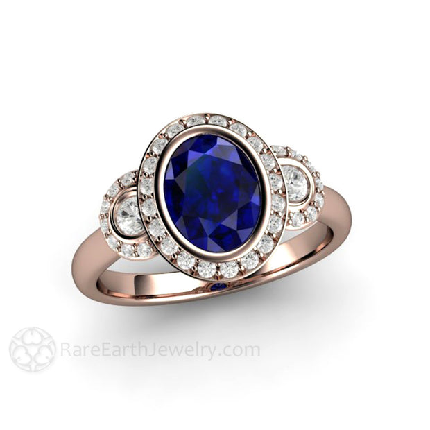 Rare Earth Jewelry Rose Gold Oval Blue Sapphire September Birthstone Ring