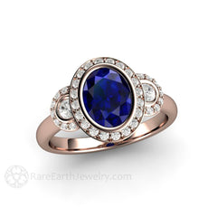 Rose Gold Oval Blue Sapphire September Birthstone Ring Rare Earth Jewelry