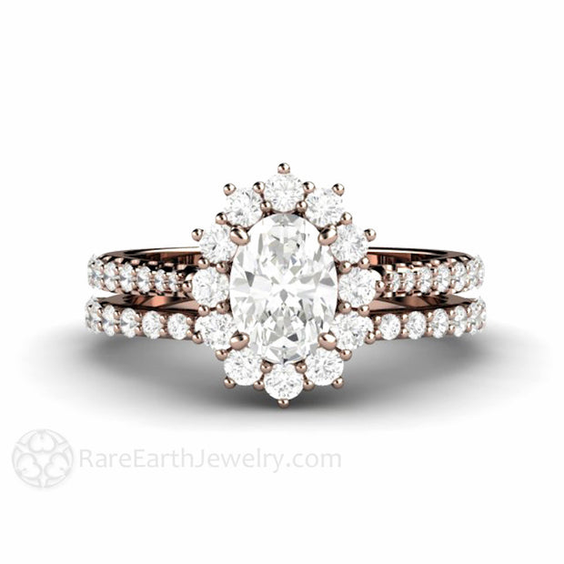 Rare Earth Jewelry 14K Moissanite Wedding Set Oval Cut Halo Diamond Accented Rose Gold Setting