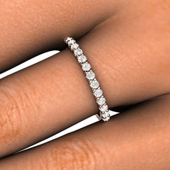Round Cut Pave Diamond Ring on Finger Rare Earth Jewelry