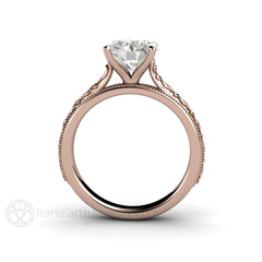 2ct Diamond Alternative Engagement Ring Round Cut Forever One Moissanite 14K Rare Earth Jewelry