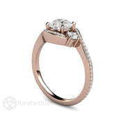 Rare Earth Jewelry Three Stone Bypass Engagement Ring 14K Rose Gold Vintage Style Halo