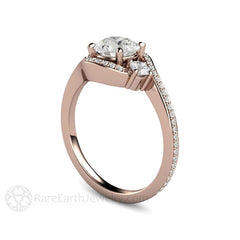 3 Stone Bypass Engagement Ring Rose Gold