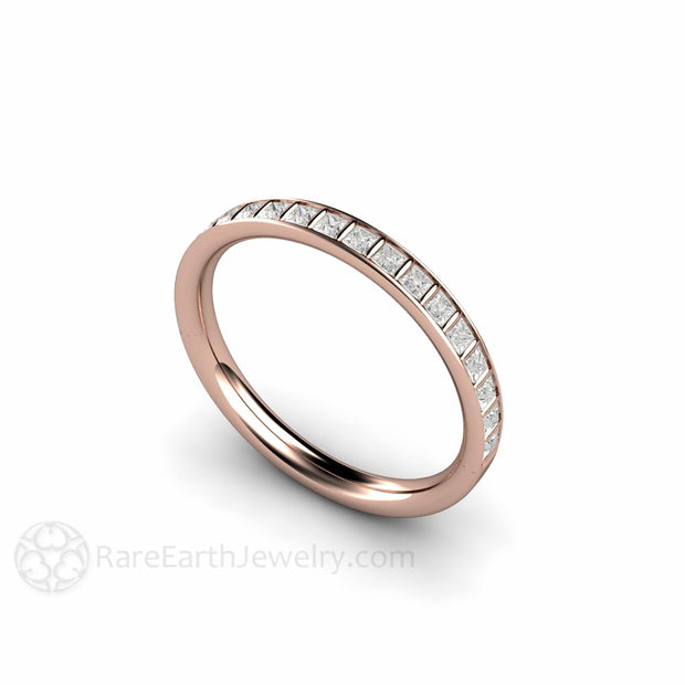 Rose Gold Diamond Wedding or Anniversary Stackable Ring Rare Earth Jewelry