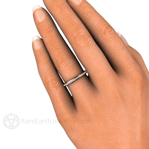 Stacking Diamond Anniversary Ring on Finger Rare Earth Jewelry