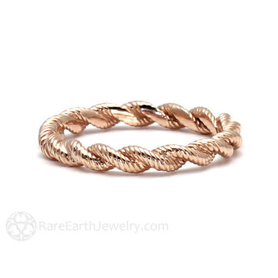 Rose Gold Bridal Stacking Ring 18K Rare Earth Jewelry