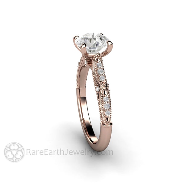 Rare Earth Jewelry Colorless Forever One Moissanite Solitaire Ring 4 Prong Vintage Rose Gold Setting
