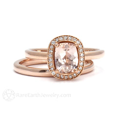 Rare Earth Jewelry Cushion Cut Morganite Bridal Wedding Set 14K Rose Gold