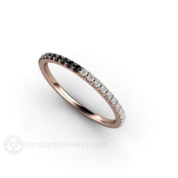 Rare Earth Jewelry Rose Gold Diamond Anniversary Band Round Cut Black and White Diamonds