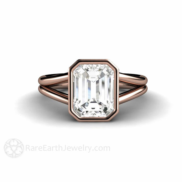 White Sapphire Solitaire Ring April Birthstone Rose Gold Split Shank Rare Earth Jewelry