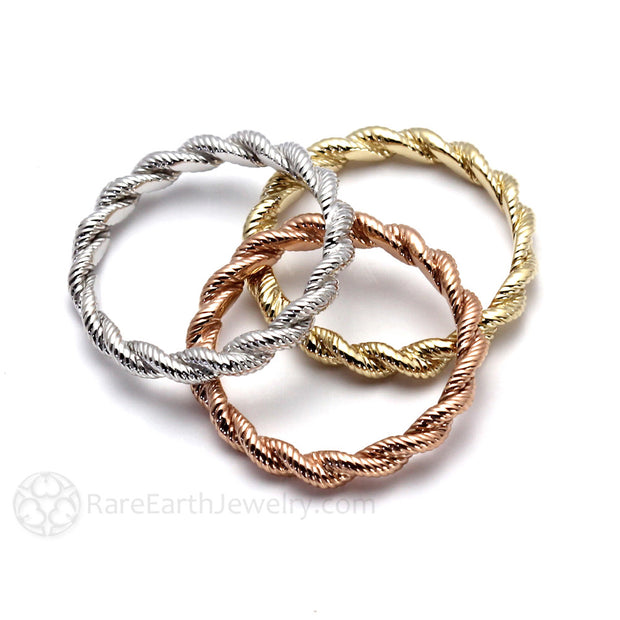 14K Gold Twisted Rope Stacking Ring Rare Earth Jewelry