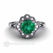 Round 1 Carat Green Emerald Ring in Platinum Antique Style May Birthstone Gift