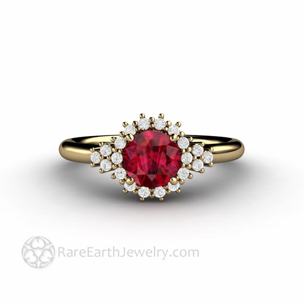 Ruby and Diamond Engagement Ring Vintage Filigree Diamond Halo
