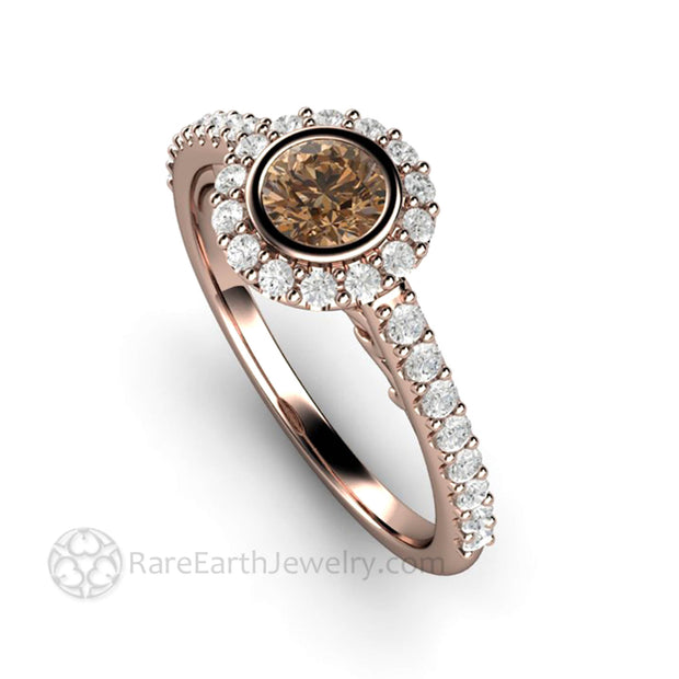 Brown Diamond Ring Round Diamond Halo