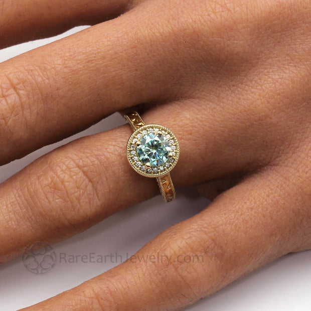 Round Blue Moissanite Ring Vintage Style Halo with Milgrain on the Finger