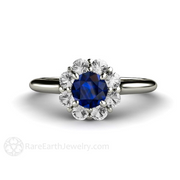 Round Blue Sapphire Flower Shaped Ring Diamond Halo Unique Engagement Ring by Rare Earth Jewelry