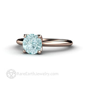 Round Cut Aqua Ring 4 Prong Simple Solitaire Rare Earth Jewelry