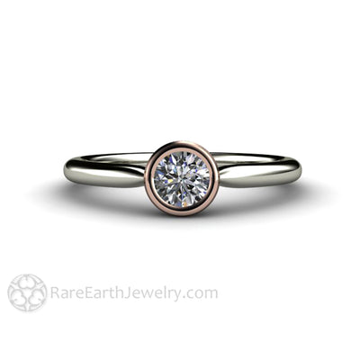 Round Cut Diamond Solitaire Wedding Ring in a 14K Two-Tone Gold Bezel Setting Rare Earth Jewelry