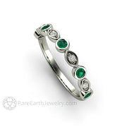Round Cut Emerald Wedding Ring with Diamonds 14K White Gold Bezel Rare Earth Jewelry