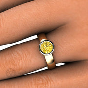 Bezel Yellow Sapphire Diamond Halo Ring on Finger - Rare Earth Jewelry