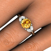 Yellow Sapphire and Diamond Right Hand Ring on Finger - Rare Earth Jewelry