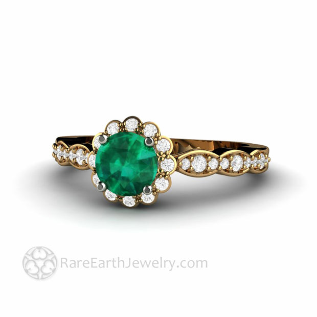 Round Lab Created Green Emerald Engagement Ring in 18K Yellow Gold Diamond Accented Made in the USA by Rare Earth Jewelry