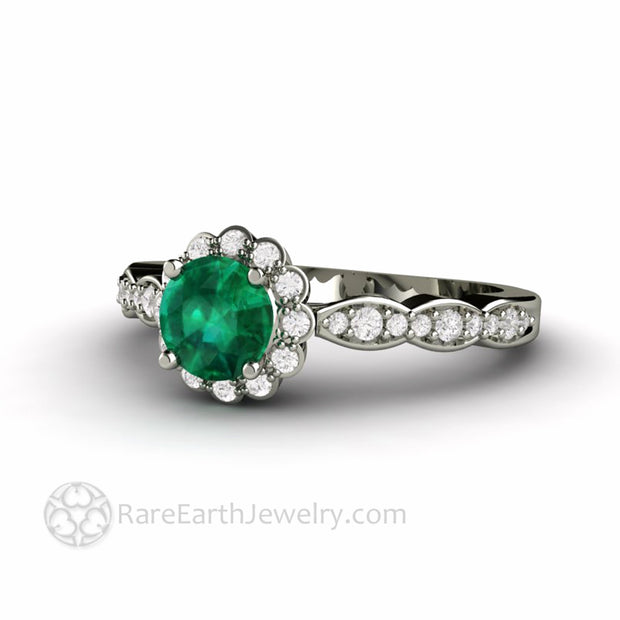 Round Emerald Ring with Diamonds in White Gold Antique Design Custom Made by Rare Earth Jewelry