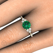 Round Green Emerald Ring on Finger Yellow Gold Three Stone Diamond Setting Rare Earth Jewelry