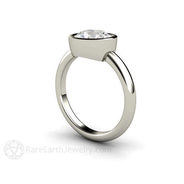 Round Moissanite Solitaire Ring Bezel Setting in 14K White Gold handmade by Rare Earth Jewelry