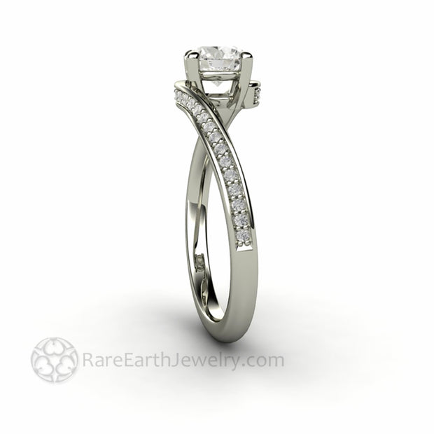 Round Solitaire Engagement Ring twisted Band with Lab Grown Diamonds by Rare Earth Jewelry