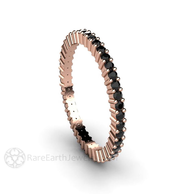 Rare Earth Jewelry Black Diamond Anniversary Band or Stacking Ring 14K Rose Gold