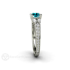 White Marquise Diamond Ring with Round Blue Diamond Center Stone 14K Rare Earth Jewelry