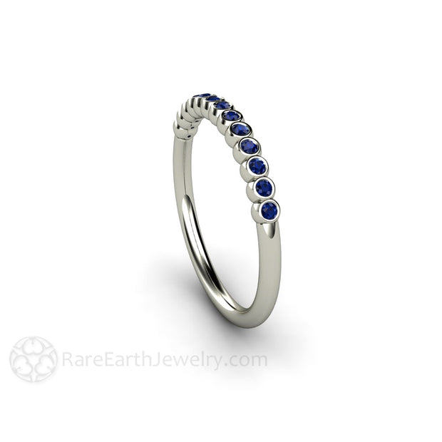 Rare Earth Jewelry Blue Sapphire Stacking Band Bezel Setting