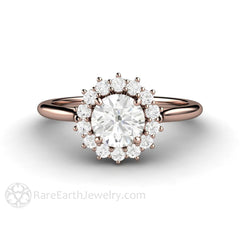 Rare Earth Jewelry Diamond Halo Anniversary or April Birthstone Ring 6mm Round GIA Certified 14K or 18K Gold